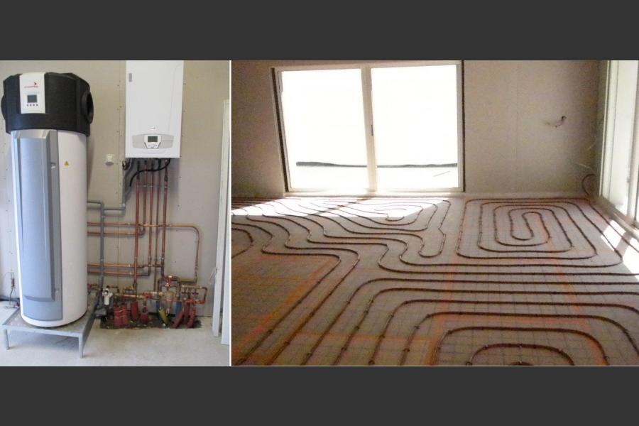 Installation d'une chaudière au gaz naturel, d'un plancher chauffant et d' un chauffe-eau thermodynamique en production d'eau-chaude
